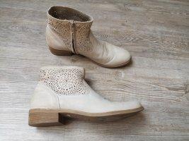 Bata Echt Leder Stiefeletten Stiefel 38 Made in Italy Strass beige creme