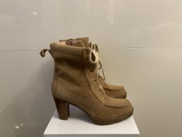 Bata Lace-up Booties beige-sand brown leather