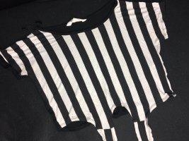 H&M Basic Cropped shirt wit-zwart