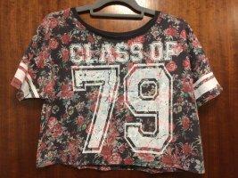 Bauchfreies T-Shirt mit Blumenmuster, FB Sister, Gr. M