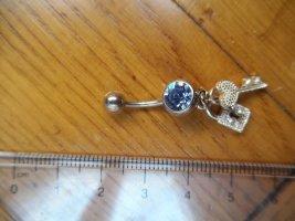 Bauchnabel-Piercing mit blauem Stein, Schlüssel und Schloss