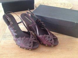 BCBG Maxazria Platform Sandals dark violet leather