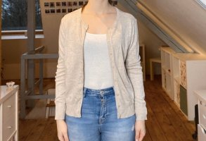 Beige Basic Strickjacke