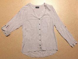 beige Bluse mit verstellbare Armlänge und Knöpfen, langärmlig oder 3/4 ärmlig, Gr. M