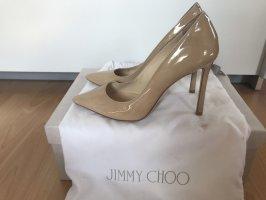 Beige Lackleder Pumps von Jimmy Choo