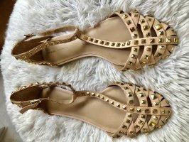 Zara Basic Sandalias de tiras beige-crema