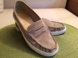 Beige Slipper / Bootsschuhe in Leder