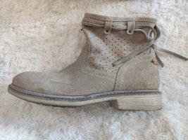 Beigefarbene Stiefel/Boots aus Rauleder