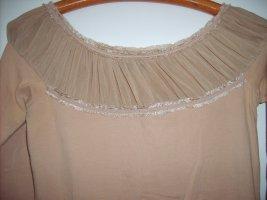 Mango Top épaules dénudées brun sable coton