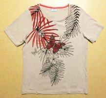 beiges T-Shirt mit Schmetterlingmotiv und Pailletten, Gr. 40