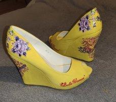 Belle Women Peep Toe Pumps yellow-brick red
