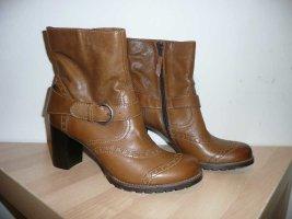 Belmondo Stiefelette Boots Budapester Muster Blockabsatz Leder Braun Gr 41