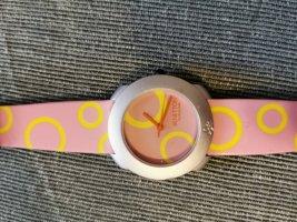 Benetton Zegarek ze skórzanym paskiem bladożółty-różowy