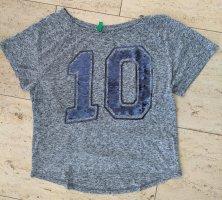 Benetton Pailletten-Shirt grau Gr. S