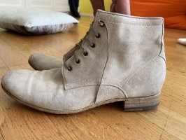 Benson's Lace-up Booties natural white leather