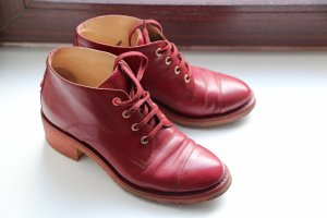 Chanel Lace-up Booties bordeaux-dark red