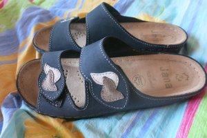Jana Zuecos azul oscuro-color plata