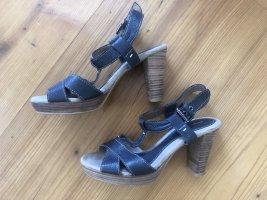 bequeme Plateau-Sandalette aus blauem Leder von Gerry Weber