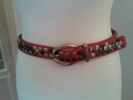 Bernd Götz Studded Belt dark red leather