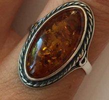 Statement ring zilver-donker oranje