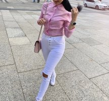 Bershka Hemd Pink/Neonpink Gr.XS