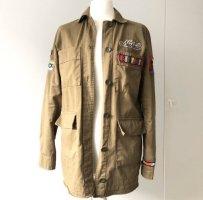 Bershka Jacke Hemd Gr  S army Hippie boho patches grün Khaki