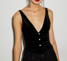 Bershka Backless Top black-silver-colored
