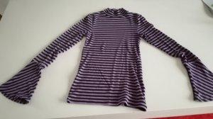 Camisa acanalada púrpura-negro Viscosa