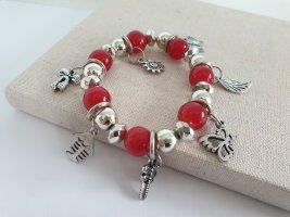 Bracelet brick red-silver-colored