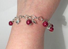 no name Bracelet à breloques argenté-rouge tissu mixte