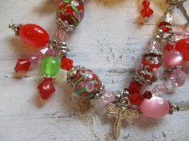 Charm Bracelet red-silver-colored