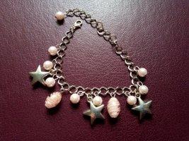 Bracelet à breloques argenté-rose clair métal