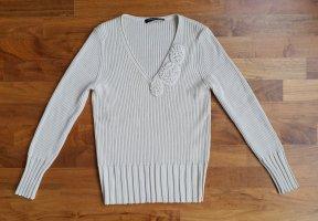 Betty Beclay Wełniany sweter jasnobeżowy