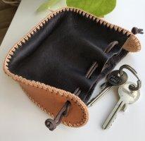 Beutel Börse echt Leder dunkelbraun cognacfarben Zugband 11,5x11x3,9cm Larp Mittelalter