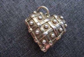 Bezaubernde Silber 925 Masive Herz Unikat Anhänger Vergoldet