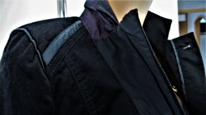 Biba Korte blazer zwart-bruin-paars Gemengd weefsel