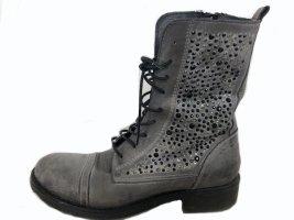 BIKER-Boots / Schnürstiefelette - grau mit Schmucksteinen - Vintage/Used Look - Gr. 39 ++ TOP ZUSTAND ++ -