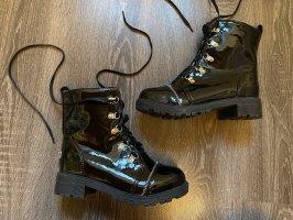Biker Boots Stiefel Stiefeletten Lack schwarz neu Reißverschluss