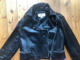 Biker  Jacke aus Leder mit Reverskragen