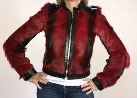 Bikerjacke von Dolce&Gabbana aus Leder mit rotem Ziegenfell in S, Designerstück