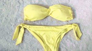 Bikini bandeau gelb push up bademode
