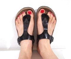 Birkenstock High-Heeled Toe-Post Sandals black-light brown