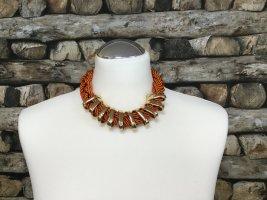 BIMBA Y LOLA Damen Kette Halskette Necklace Orange Stoff Geflochten Gold Kurz NEU NEU