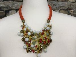 BIMBA Y LOLA Damen Kette Halskette Necklace Orange Weiß Gold Mittellang NEU NEU