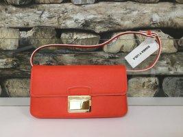BIMBA Y LOLA Damen Tasche Handtasche Bag Clutch Clutches Orangerot Rot Gold Klein Leder Echtleder NEU NEU