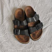 Birkenstock Sandales confort brun foncé cuir