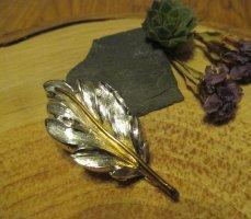 Vintage Broche gris clair-doré matériel synthétique