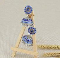 Bollywood Kolczyk ze sztyftem srebrny-niebieski