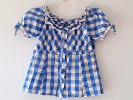 Blau/Weis-karrierte Bluse