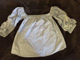 Blau-weiß gestreifte Off-Shoulder Bluse in S/36!